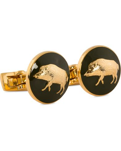 Skultuna Cuff Links Hunter Wild Boar Gold/Green  i gruppen Tilbehør / Manchetknapper hos Care of Carl (10531310)