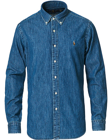 Polo Ralph Lauren Custom Fit Shirt Denim Dark Wash i gruppen Tøj / Skjorter / Casual / Denimskjorter hos Care of Carl (10976511r)