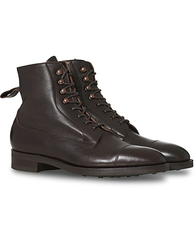 Edward Green Galway Grained Boot Dark Brown Utah Calf i gruppen Sko / Støvler / Snørestøvler hos Care of Carl (12003811r)