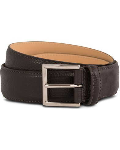 Crockett & Jones Belt 3,5 cm Dark Brown Grained Calf i gruppen Tilbehør / Bælter / Glatte bælter hos Care of Carl (12051411r)