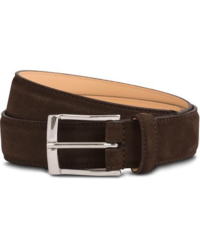 Crockett & Jones Belt 3,2 cm Dark Brown Suede i gruppen Tilbehør / Bælter / Glatte bælter hos Care of Carl (12051511r)