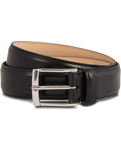 Crockett & Jones Belt 3,2 cm Black Calf i gruppen Tilbehør / Bælter / Glatte bælter hos Care of Carl (12051711r)