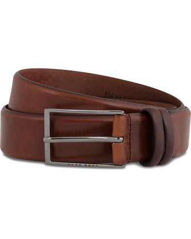 BOSS Carmello Leather Belt 3,5 cm Medium Brown i gruppen Tilbehør / Bælter / Glatte bælter hos Care of Carl (12066811r)