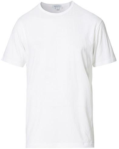 Sunspel Crew Neck Cotton Tee White i gruppen Tøj / T-Shirts hos Care of Carl (12245111r)