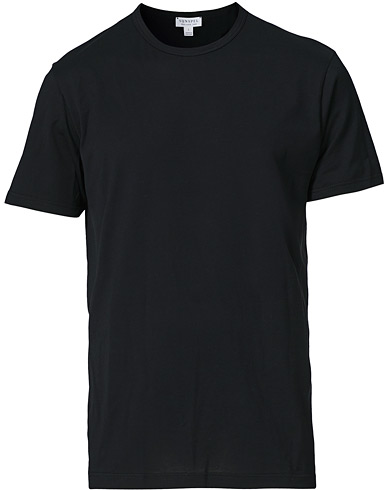 Sunspel Crew Neck Cotton Tee Black i gruppen Tøj / T-Shirts / Kortærmede t-shirts hos Care of Carl (12245311r)