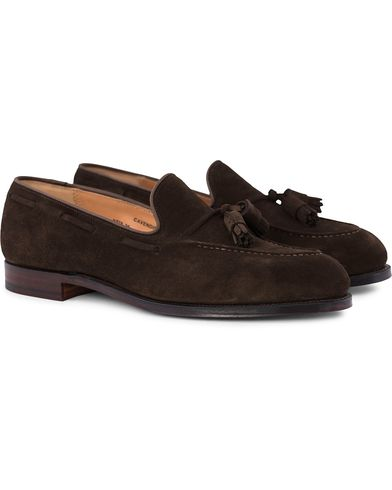 Crockett & Jones Cavendish Tassel Loafer Dark Brown Suede i gruppen Sko / Loafers hos Care of Carl (12680311r)