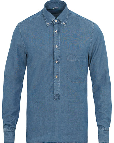 Stenströms Slimline Chambray Popover Shirt Light Blue