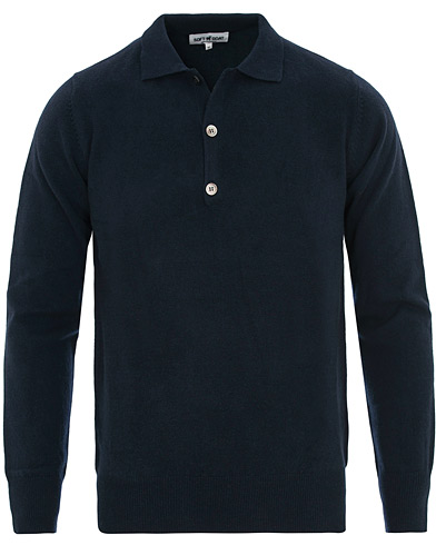 Soft Goat Cashmere Collar Sweater Navy