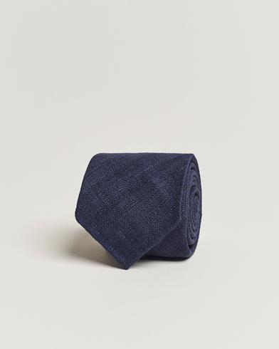 Drake's Tussah Silk Handrolled 8 cm Tie Navy