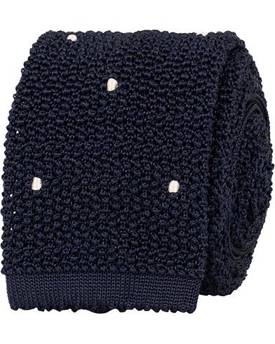 Drake's Knitted Silk Handsewn Spots 6.5 cm Tie Navy/White