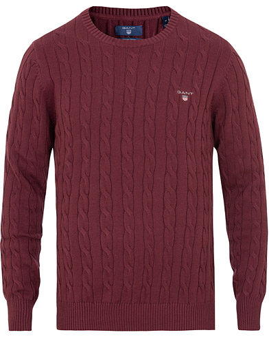 GANT Cotton Cable Crew Neck Purple Fig i gruppen Tøj / Trøjer / Strikkede trøjer hos Care of Carl (15207811r)