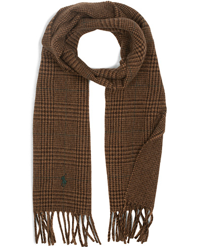 Polo Ralph Lauren Wool Reversible Check Scarf Camel/Alpine Brown  i gruppen Tilbehør / Halstørklæder hos Care of Carl (15289410)