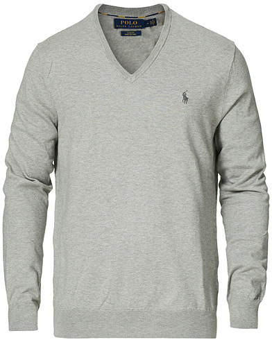 Polo Ralph Lauren Pima Cotton V-neck Pullover Andover Heather i gruppen Tøj / Trøjer / Pullovers med v-hals hos Care of Carl (15300211r)