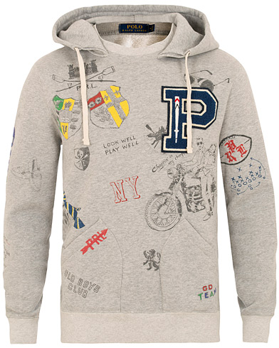 Polo Ralph Lauren Printed Hoodie Light Grey Heather i gruppen Tøj / Trøjer / Hættetrøjer hos Care of Carl (15429011r)