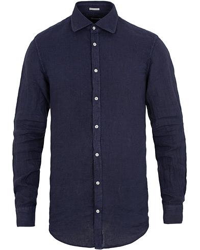 Massimo Alba Canary Linen Shirt  Washed Navy