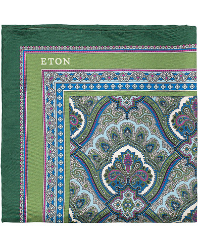 Eton Silk Paisley Print Pocket Square Green  i gruppen Tilbehør / Lommeklude hos Care of Carl (15458810)