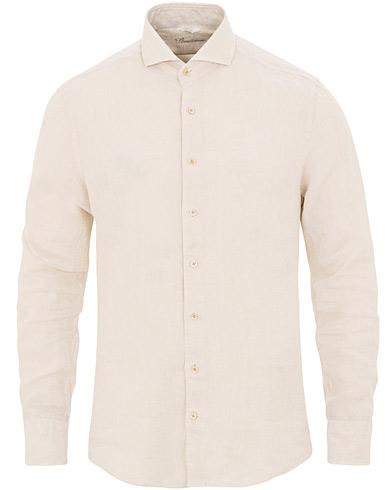 Stenströms Slimline Cut Away Linen Shirt Beige