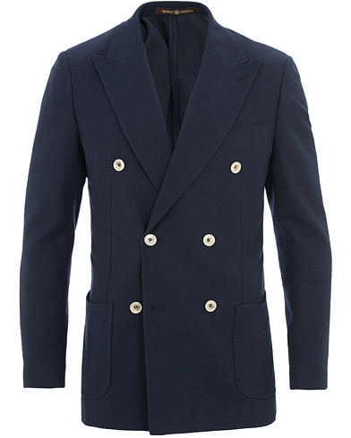 Morris Heritage Grant Fishbone Double Breasted Blazer Navy