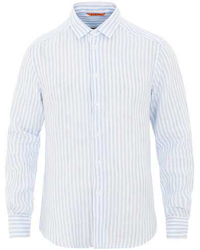 Barena Coppi Striped Linen Long Sleeve Shirt Sky Blue