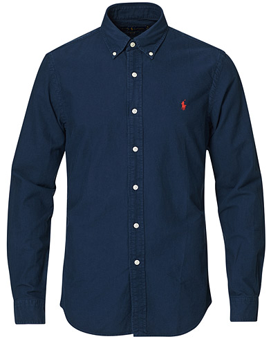Polo Ralph Lauren Slim Fit Garment Dyed Oxford Shirt Navy i gruppen Tøj / Skjorter / Casual / Oxfordskjorter hos Care of Carl (15594011r)