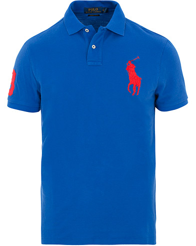 Polo Ralph Lauren Custom Slim Fit Big Pony Polo Blue Saturn i gruppen Tøj / Polotrøjer / Kortærmede polotrøjer hos Care of Carl (15603711r)