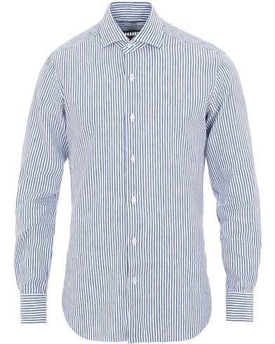 Barba Napoli Culto Slim Fit Striped Shirt Blue