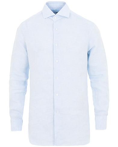 Barba Napoli Culto Slim Fit Linen Shirt Light Blue