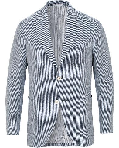 Boglioli K Jacket Wool/Cotton Seersucker Blazer Blue/White