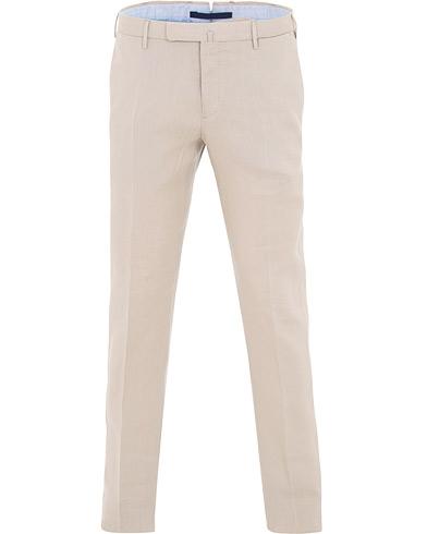 Incotex Slim Fit Linen Natural Stretch Trousers Beige