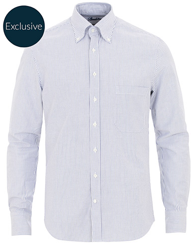 Stenströms Slimline Striped Oxford Shirt Blue/White