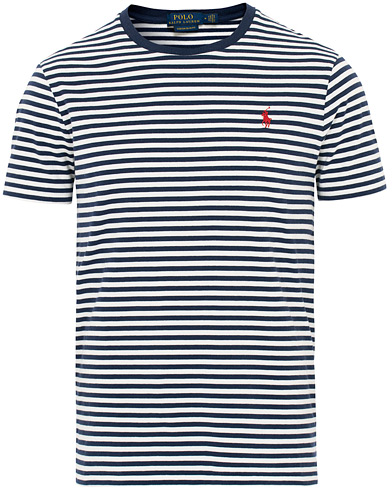 Polo Ralph Lauren Stripe Crew Neck Tee White/Navy i gruppen Tøj / T-Shirts / Kortærmede t-shirts hos Care of Carl (16068811r)