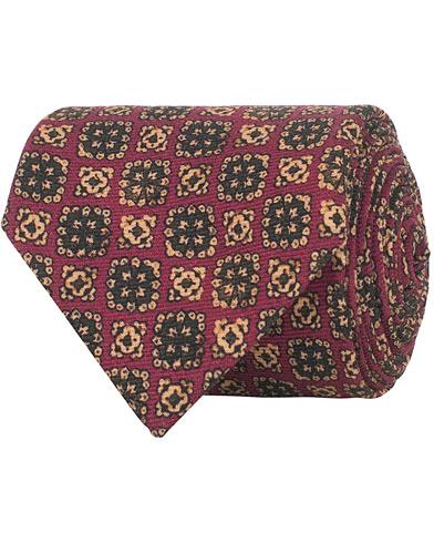 Drake's Wool Printed Tie 8 cm Purple