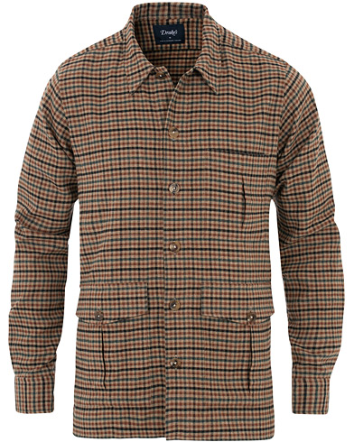 Drake's 4 Pocket Checked Wool Shacket Brown i gruppen Tøj / Skjorter / Casual hos Care of Carl (16112911r)