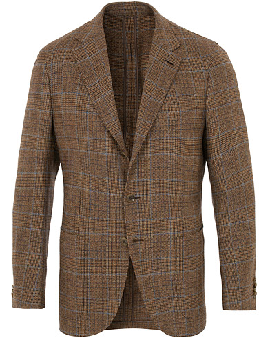 Butterfly Checked Wool Blazer Light Brown
