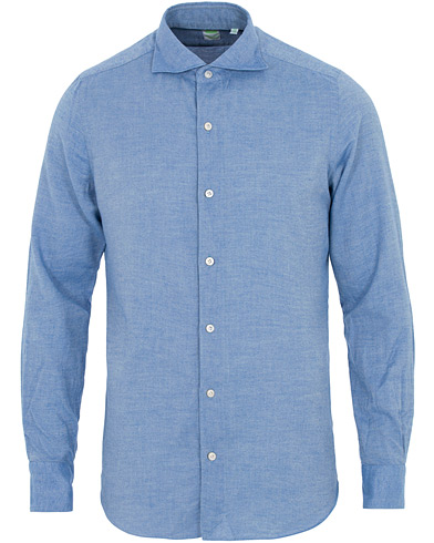 Finamore Napoli Tokyo Slim Fit Flannel Shirt Light Blue