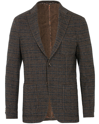 Etro Prince Of Wales Check Wool Blazer Dark Grey