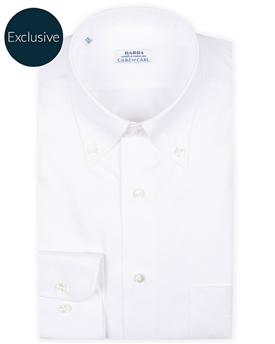 Barba Napoli Slim Fit Oxford Button Down Shirt White i gruppen Tøj / Skjorter / Formelle hos Care of Carl (16297911r)