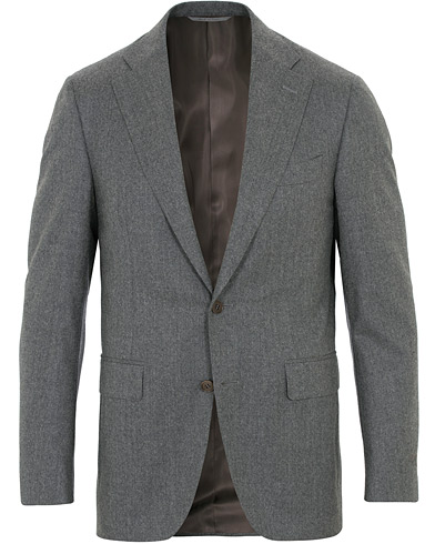 Canali Capri Flannel Patch Pocket Blazer Grey Melange