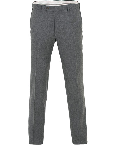 Canali Capri Slim Fit Flannel Trousers Grey Melange