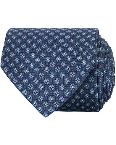 Canali Silk Woven Flower 8 cm Tie Navy