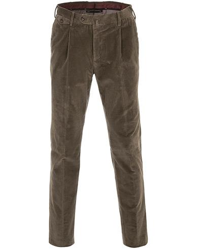 PT01 Gentleman Fit Pleated Corduroy Trousers Brown