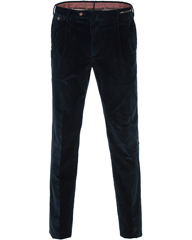 PT01 Gentleman Fit Pleated Corduroy Trousers Navy