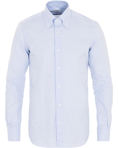 Mazzarelli Soft Oxford Button Down Striped Shirt Light Blue