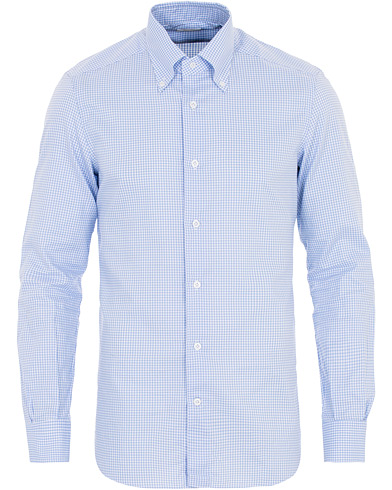 Mazzarelli Soft Oxford Button Down Check Shirt Light Blue