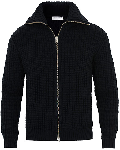 Tiger of Sweden Dardel Heavy Knitted Wool Full Zip Navy i gruppen Tøj / Trøjer / Zip-trøjer hos Care of Carl (16426111r)