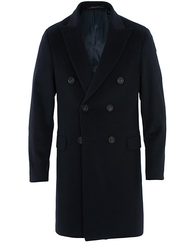 Oscar Jacobson Sebastian Wool/Cashmere Double Breasted Coat Navy