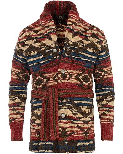 RRL Ranch Shawl Collar Hand Knit Cardigan Red/Navy/Cream
