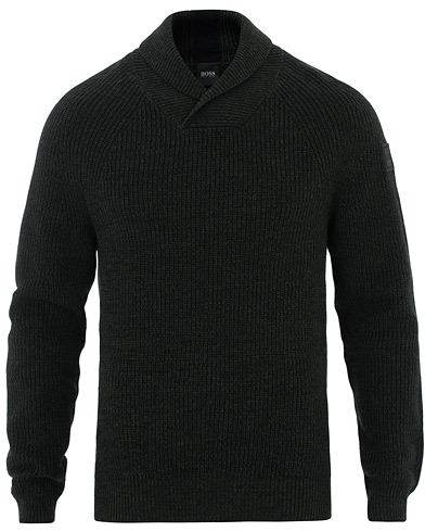 BOSS Casual Afairbus Cotton Wool Mix Shawl Collar Black i gruppen Tøj / Trøjer / Strikkede trøjer hos Care of Carl (16529611r)