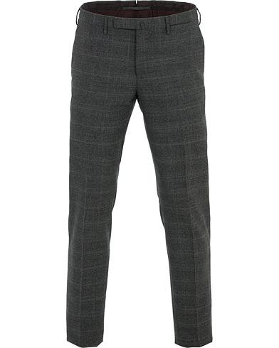 Incotex Slim Fit Glencheck Wool Trousers Charcoal