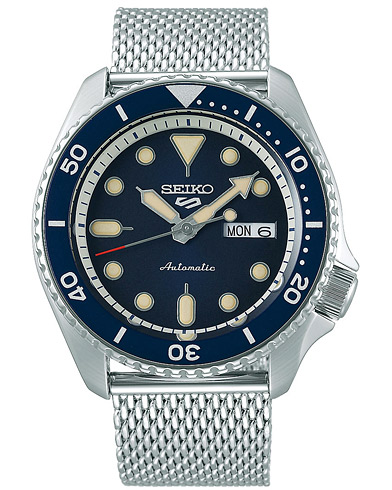 Seiko 5 Sports Mens 43mm 100m Automatic Steel Mesh/Blue Dial